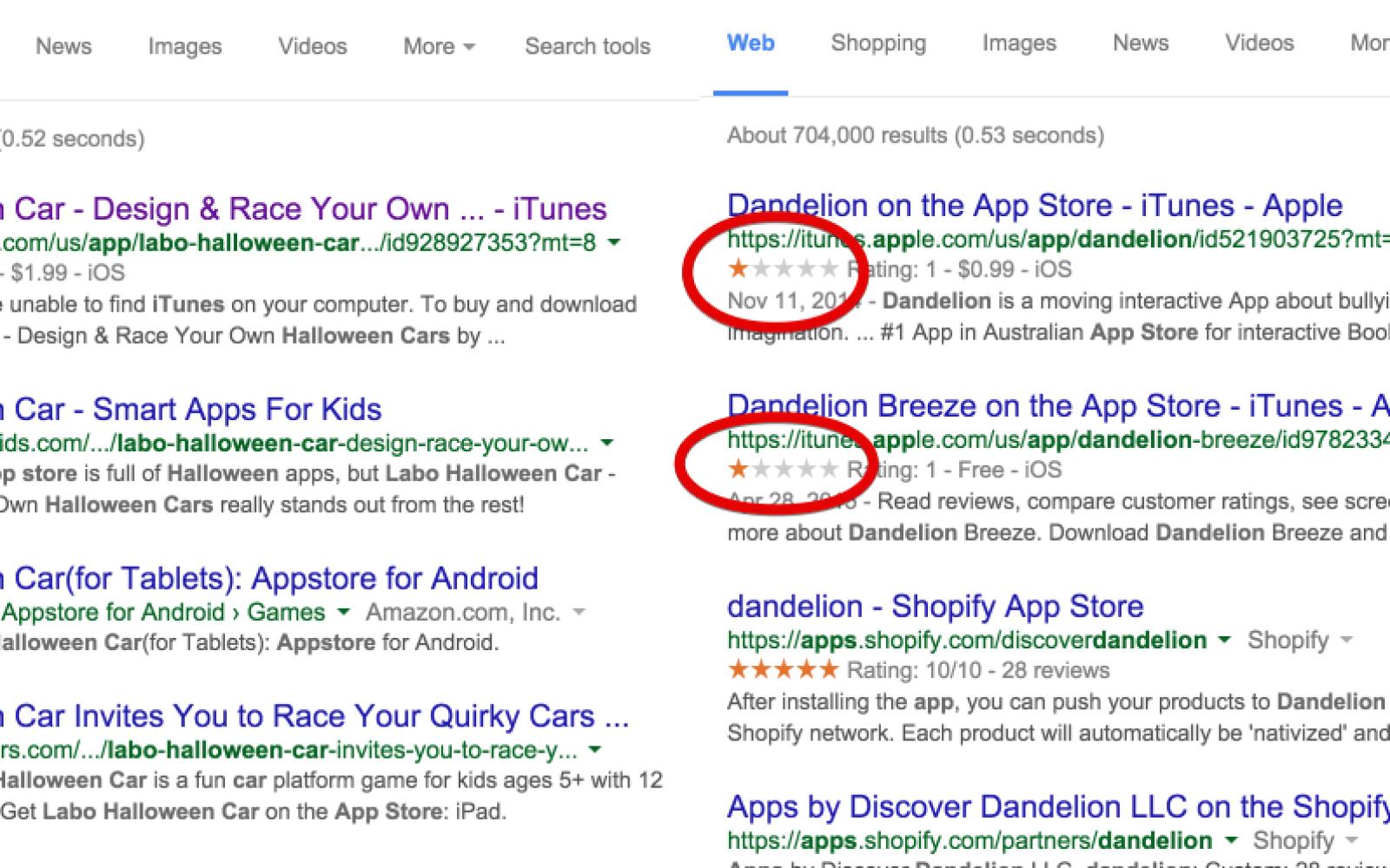Google soon pushing a fix for false 1 star App Store ratings