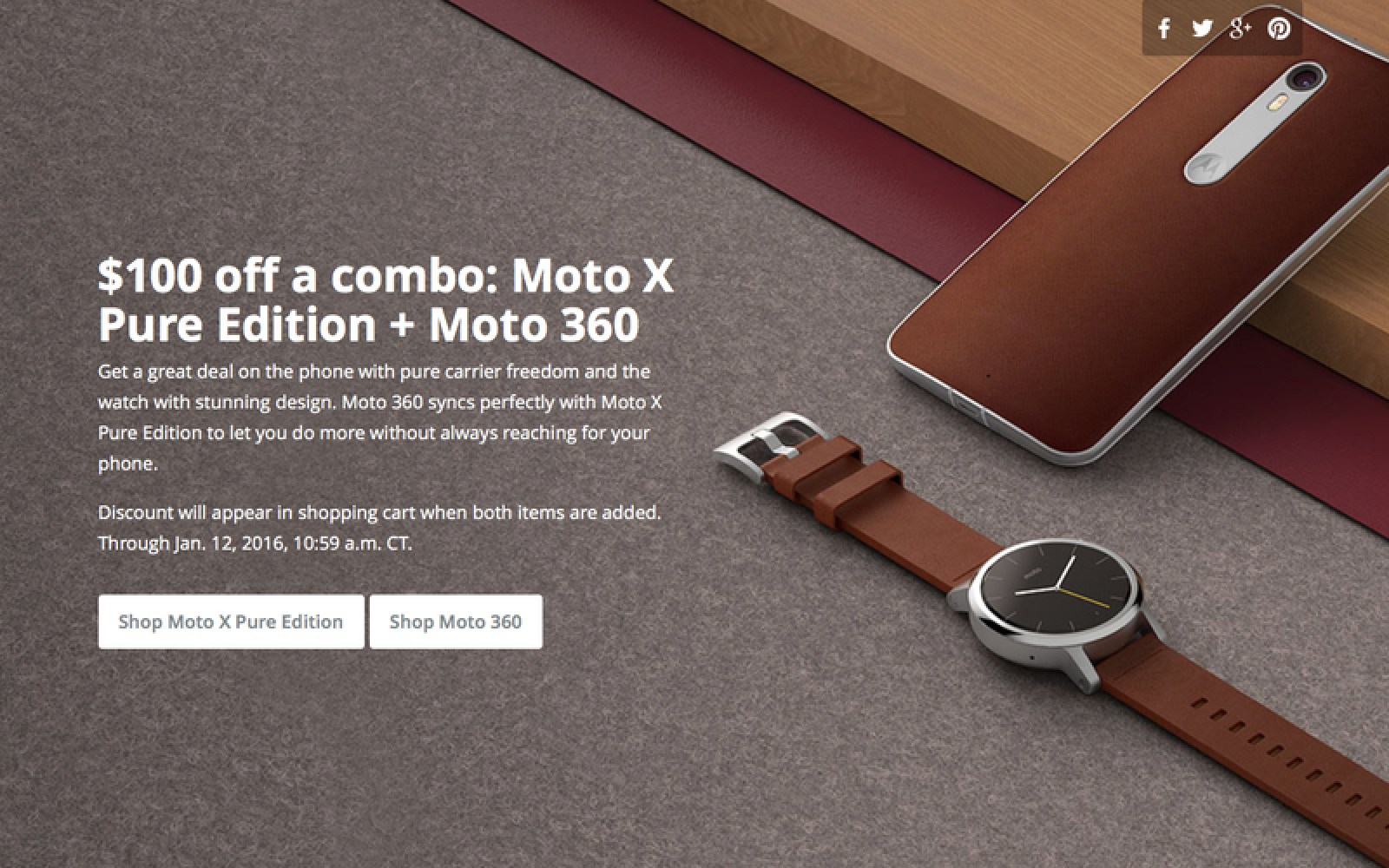 Motorola offering $100 discount when you purchase new Moto X Pure and Moto 360 together