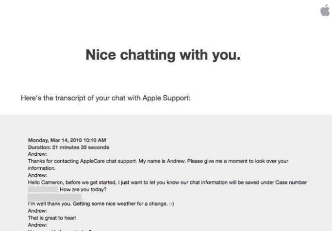 Apple sent me a transcript of my conversation