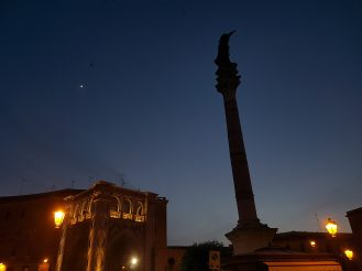 A shot of the column on top of which a statue of Saint Oronzo — my home town's patron — oversees the city.