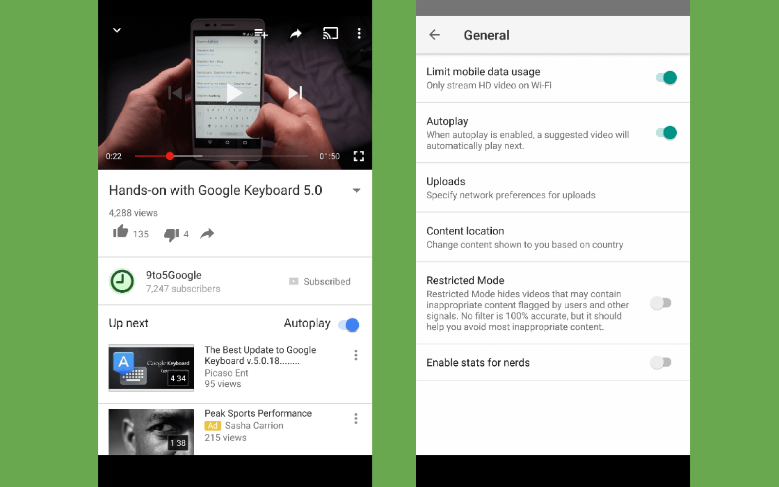 YouTube for Android adds video Autoplay and back/forward