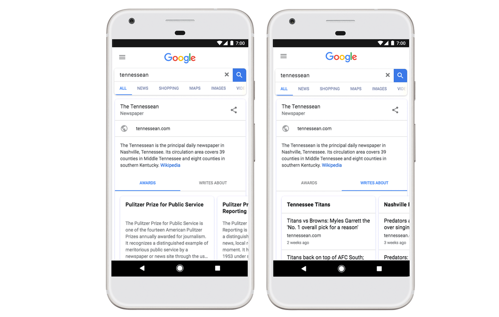 Google adds Knowledge Panel for publications w/ news