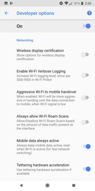 google pixel 2 devleoper options 2