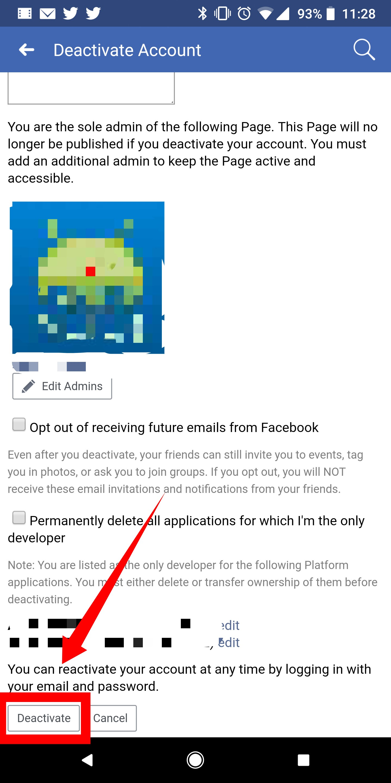Facebook deactivated account still visible