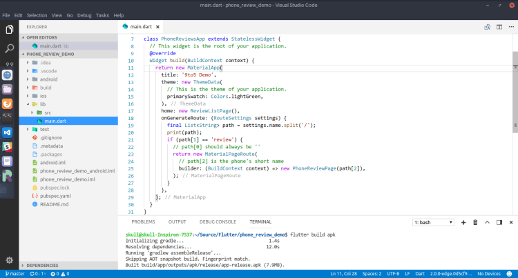 VS Code with Flutter project