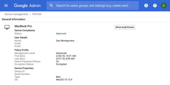g suite Endpoint verification admin info