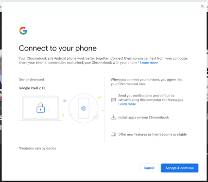 Chrome OS Better Together connected devices setup