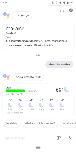 Google Assistant bug old design
