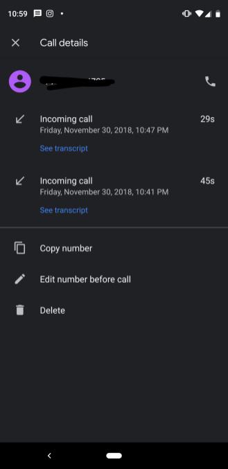 Google Call Screen transcripts