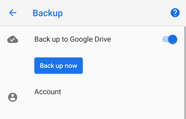 Back up now manual android backups