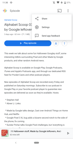 Google Podcasts sharing