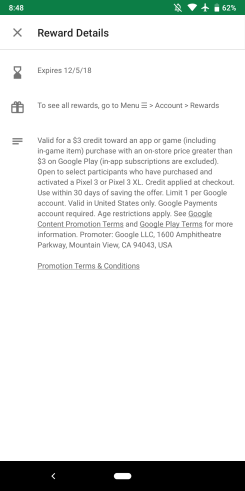 Pixel 3 Play Store credit