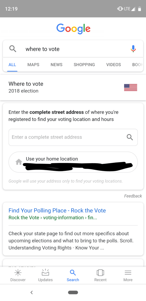Google Search voting location home address