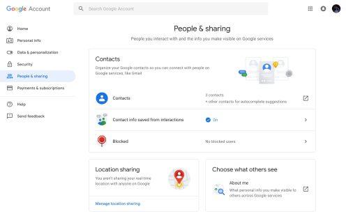 Google Account settings Material Theme