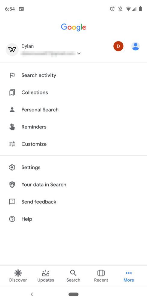 Google app Material Theme