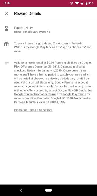 Google Play Store $.99 movie rental