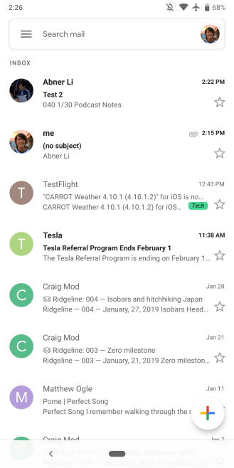 Gmail Android Google Material Theme