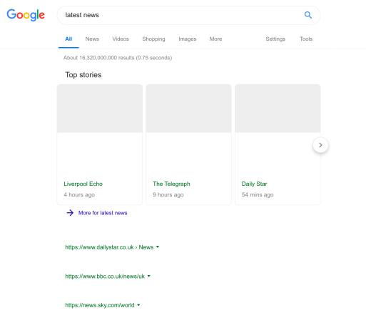 Google Search no news headlines Europe