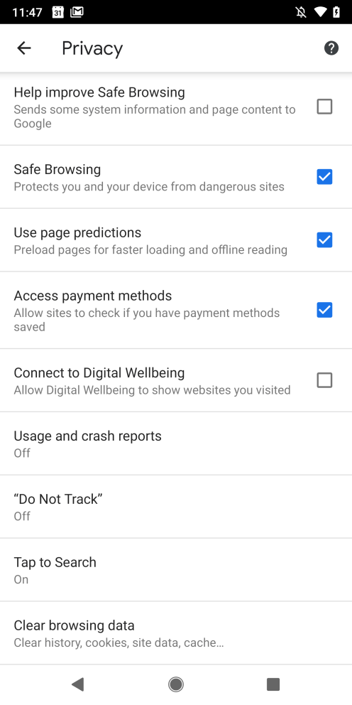 Android Q Chrome Digital Wellbeing Setting