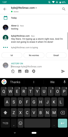 Hangouts Chat typing indicators