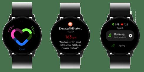 Samsung Galaxy Watch Active-Leck zeigt eine Benutzeroberfläche auf einer Smartwatch, neue Galaxy Buds-Bilder