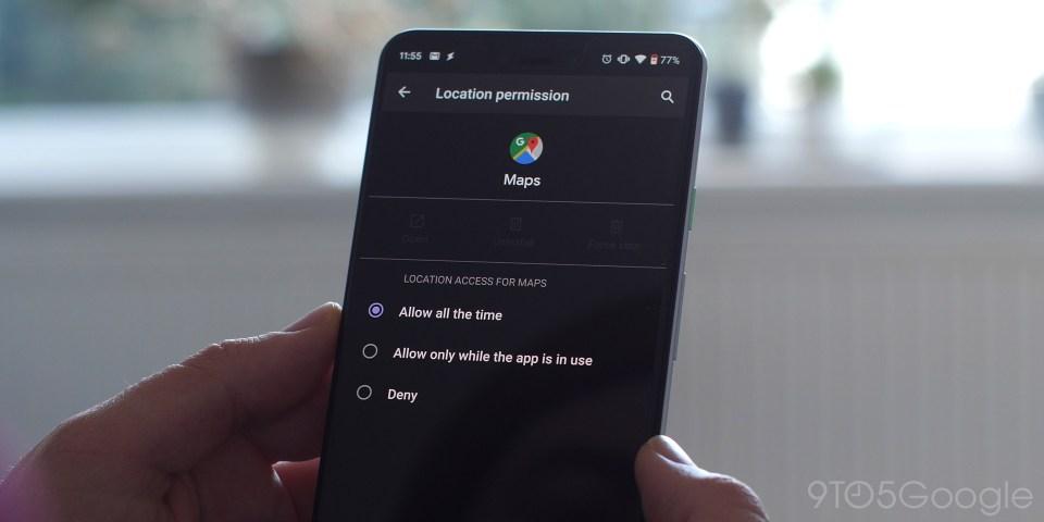 Lokasi yang disempurnakan mengontrol Android Q Beta 1