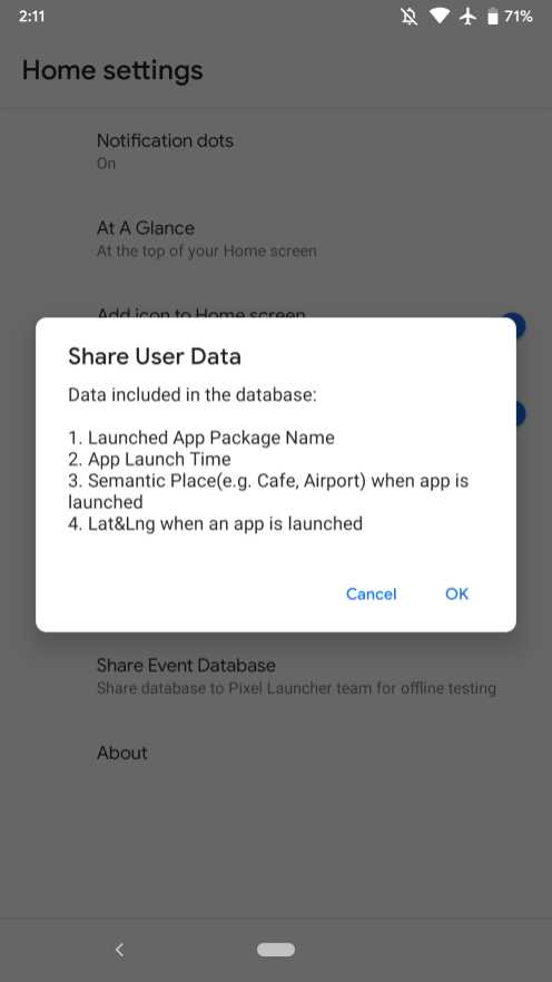 Android Q Beta 1 Pixel Launcher