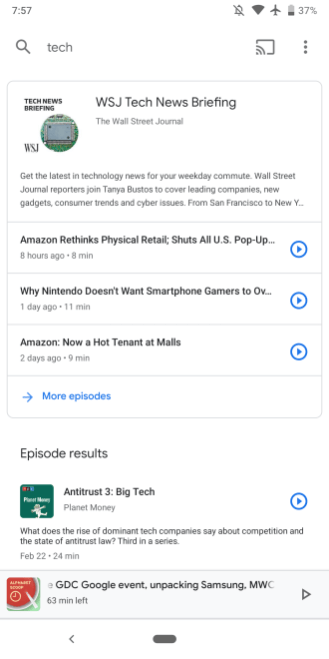 Google Podcasts episode search