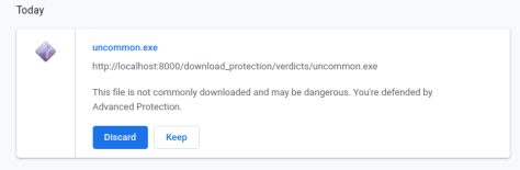 Chrome Advanced Protection uncommon file