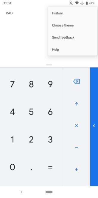 Google Calculator dark theme