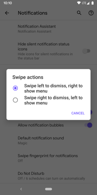Android Q Beta Notification dismiss direction