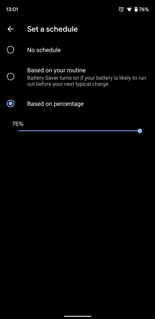 Auto Battery Saver mode Android Q