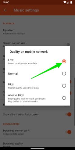 Google Play Music Data Saving Mode