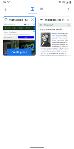 Google Chrome for Android Tab Groups