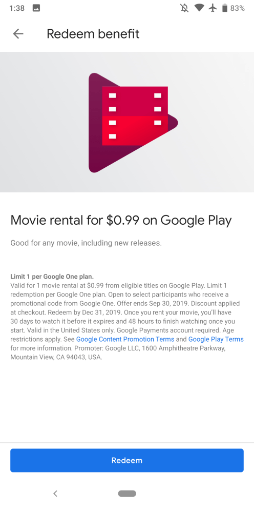 Latest Google One promo is a $ 99 Play Store movie rental - 9to5Google