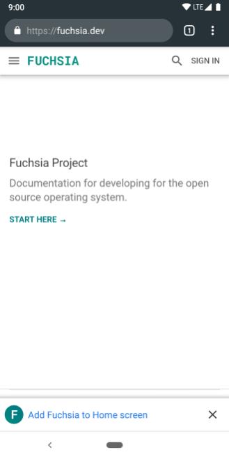 Fuchsia.dev home PWA