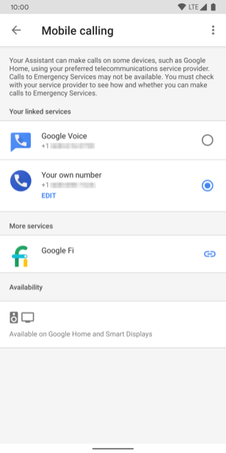 Google Home app for Android mobile calling menu