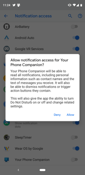 android allow windows 10 notification access