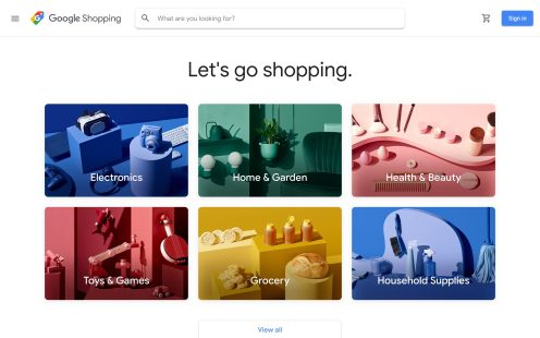 Google Shopping homepage live