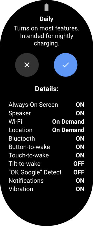 fossil daily battery mode wear os