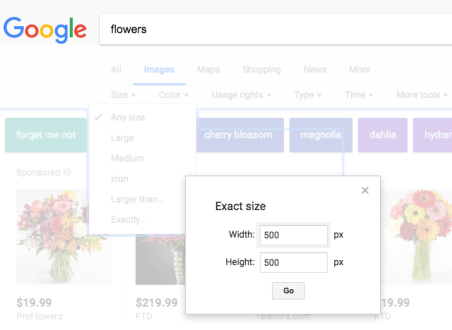 google images exact size filter removed