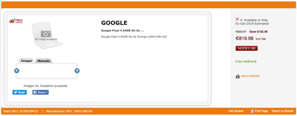 Buy Google Pixel 4 64GB Oh So Oran ..   GA01189-UK 2019-09-20 16-38-13