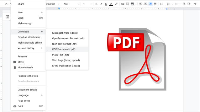 How to create a PDF from a document in Google Docs - 14to14Google