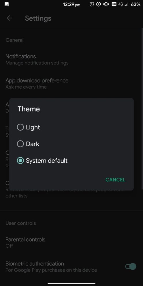 Google Play Store dark theme toggle 2
