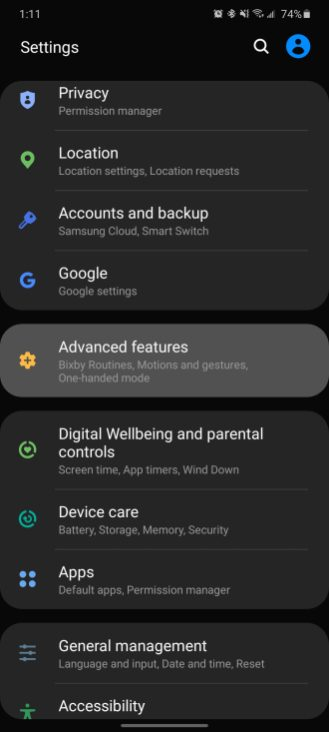 galaxy s20 advanced feature settings