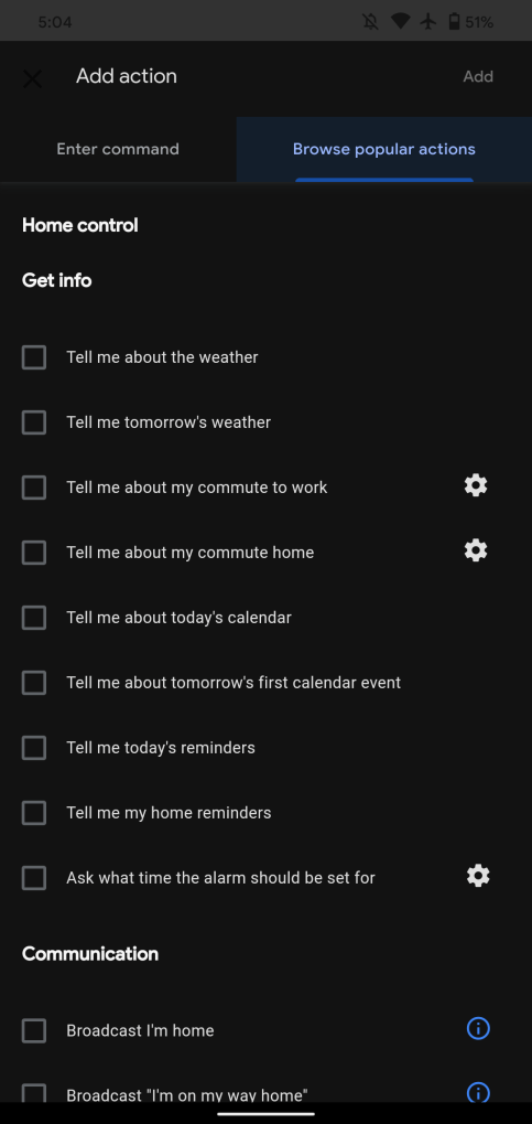 Assistant missing Home control