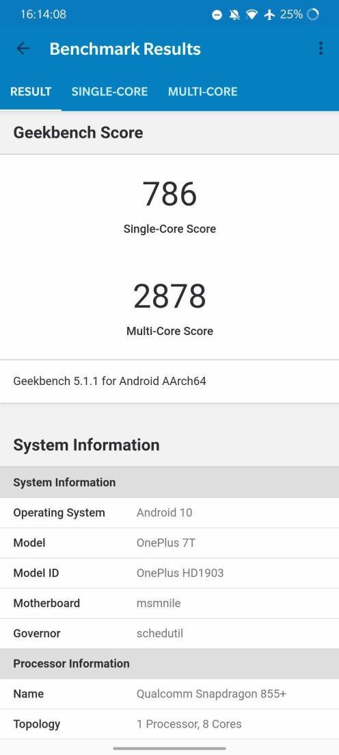 OnePlus 7T - Geekbench