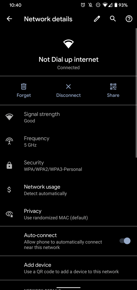 Android 11 Wi-Fi settings
