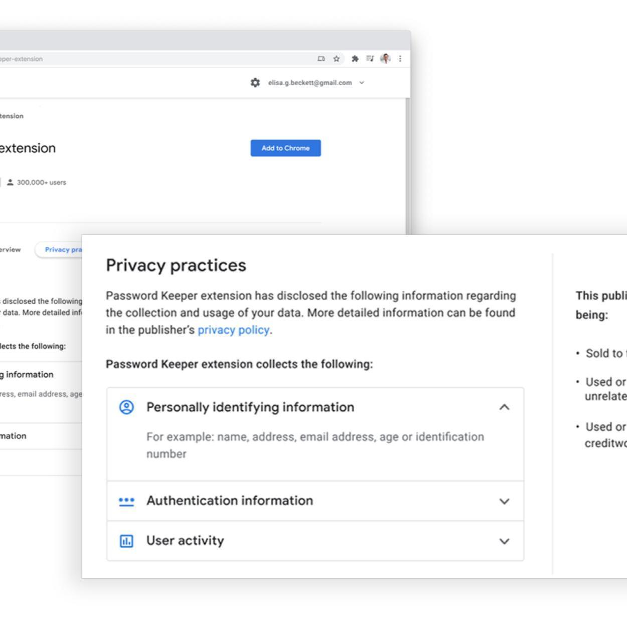 Chrome Web Store disclosure
