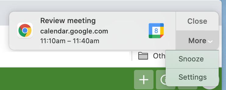 Google Calendar snooze notifications